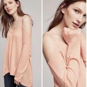 Anthropologie Deletta Cold Shoulder Sweater Pink